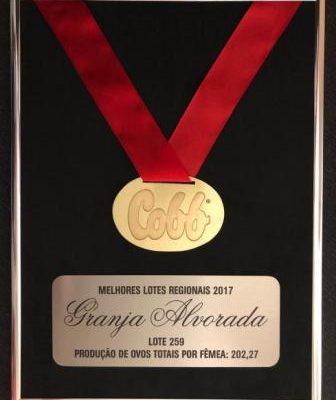 Grupo Alvorada recebe prêmio de melhor lote de 2017, da Cobb-Vantress
